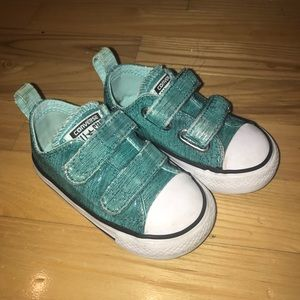 Baby Converse Size 5 - Teal Metallic